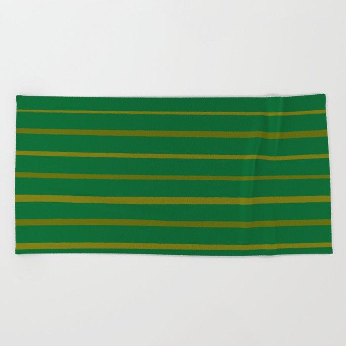 Emerald Green and Honey Gold Thin Stripes Beach Towel