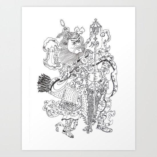 Door God Drawing Art Print By Fuquanjunze Society6