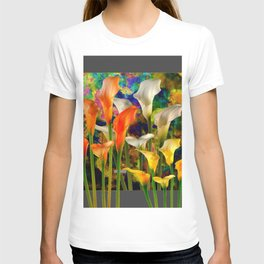 Orange Ivory & Golden Color Calla Lilies Golden Art T-shirt