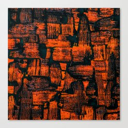Orange Painted Abstract Squares Canvas Print