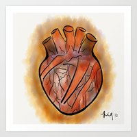 anatomical heart Art Prints featuring Anatomical Heart by transFIGure