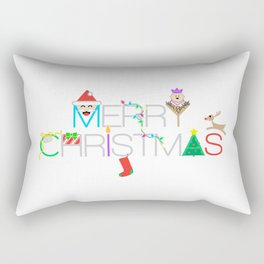 Merry Christmas Typography with Christmas Characters and Decorations Rectangular Pillow