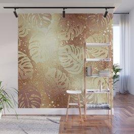 Beautiful Gold Glitter Leaf Pattern Wall Mural