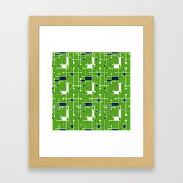Intersecting Lines in Lime Green, Navy and White Framed Art Print
