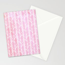 Handpainted Chevron pattern small - pink watercolor on white Stationery Cards