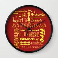 gryffindor Wall Clocks featuring Gryffindor by husavendaczek