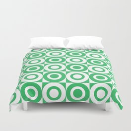 Mid Century Square and Circle Pattern 541 Green Duvet Cover