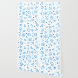 Doodle Drawing Seagulls Shells Sun - Blue White Wallpaper