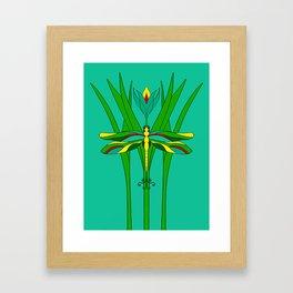 Green Dragonfly Tulip Framed Art Print