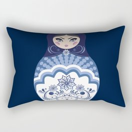 Matryoshka Doll with folk floral ornament of blue color Rectangular Pillow