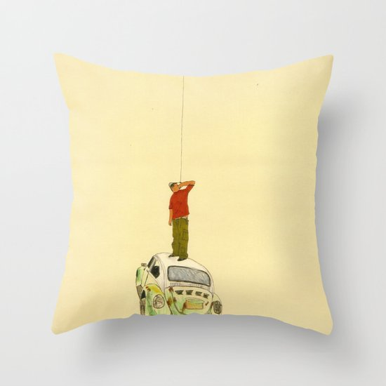 man listening something from the sky Throw Pillow