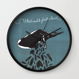 What Could Plastic Hurt? Whale by Sarah Pinc Wall Clock