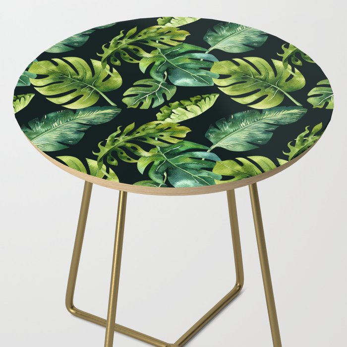 Watercolor Botanical Tropical Palm Leaves on Solid Black Background Side Table