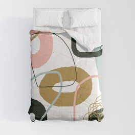 Crooked Circle Abstract Pink Blue Black Brown Comforters