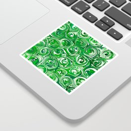 Emerald Green, Green Apple, and White Paint Swirls Sticker