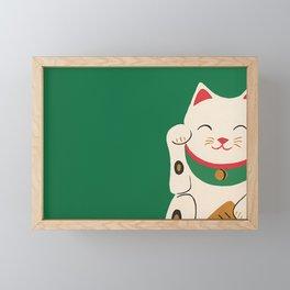 Green Lucky Cat Maneki Neko Framed Mini Art Print