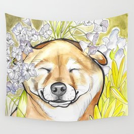 Jay Jay the happy Shiba Wall Tapestry