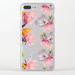 Lush Watercolor Florals Clear iPhone Case