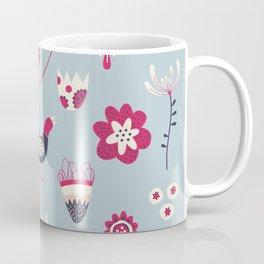 Scandi Birds and Flowers Blue Coffee Mug
