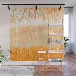 Frosted Winter Branches in Dusty Orange Wall Mural