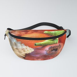 Sea Shells and Fruit Still life Fanny Pack