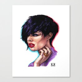 Dark Haired Woman Canvas Print