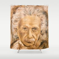 einstein Shower Curtains featuring Einstein by Les Joanneries & Jacques Lajeunesse