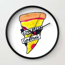 love pizza and gay porn Wall Clock