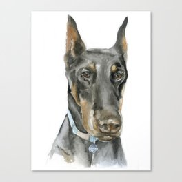 Doberman Watercolor Painting Canvas Print