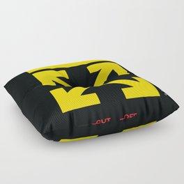 Yellow Arrows Cross Cut Off White Floor Pillow