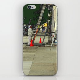 Caution Times Three Ladders iPhone Skin