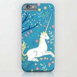 Teal unicorn garden iPhone Case