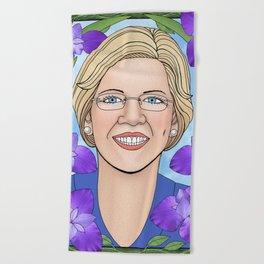 Elizabeth Warren portrait with irises Beach Towel