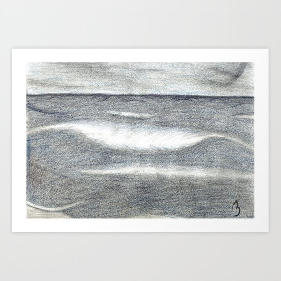 The Penciled Waves Art Print