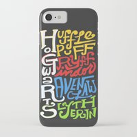 hogwarts iPhone & iPod Cases featuring Hogwarts Houses by oddhour