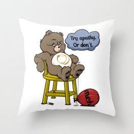 Apathy Bear Throw Pillow