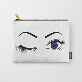 Violet Wink (Left Eye Open) Carry-All Pouch