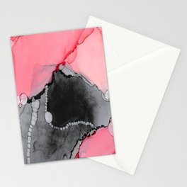 Pink & Grey Abstract Stationery Cards