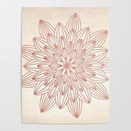 Mandala Blossom Rose Gold on Cream Poster