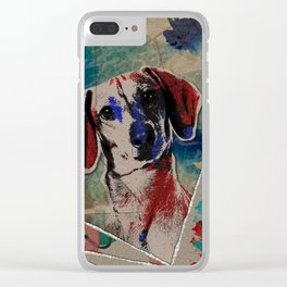Dachshund Abstract mixed media digital art collage Clear iPhone Case