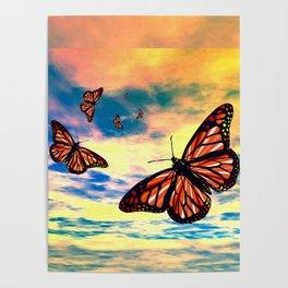 Flying Monarch Butterflies Poster