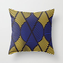 Indie in Blue and Yellow Throw Pillow