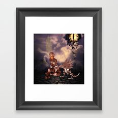 Steampunk lady with steampunk dragon Framed Art Print