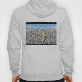 Sky Panorama Map of Yosemite National Park with Labels Hoody