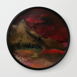 Red clouded sky Wall Clock