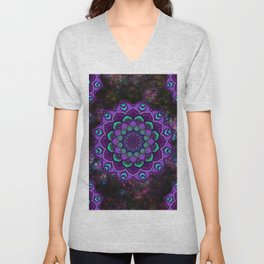 beauty mandala in purple Unisex V-Neck