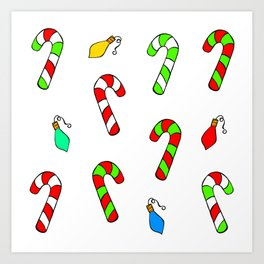 Christmas Lights and Candy Canes Art Print