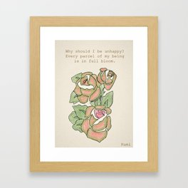 Vintage Roses with Rumi Quote by Ganesh Framed Art Print