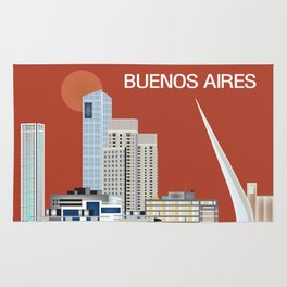 Buenos Aires, Argentina - Skyline Illustration by Loose Petals Rug