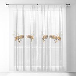 bees watercolor Sheer Curtain